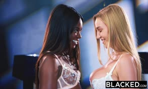 Interracial lesbian fun with two hotties
