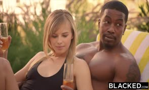 Two blonde hotties fucked by a lucky black guy |blacked