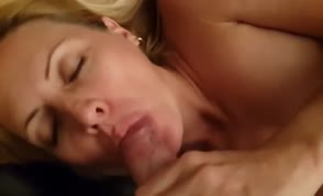 Blonde wife swallows cum