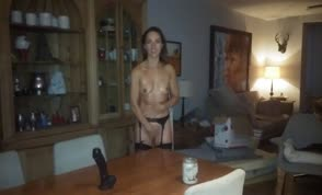 Hot wife in black lingerie takes big dildo