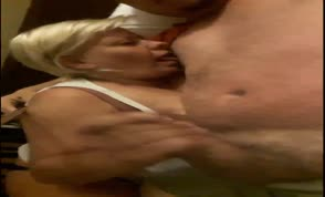 Blonde milf swallows evey bit of cum