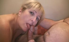 Blonde milf giving a blowjob