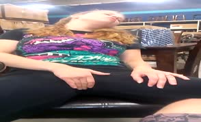 She gets horny and masturbates in furniture store