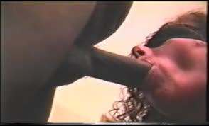 Blindfolded wife swallows cum