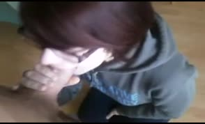 Teen gets a big load in her mouth