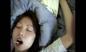 Amateur asian takes two cumshots
